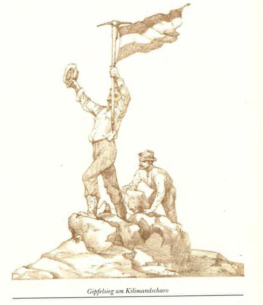 Zeichnung aus Hans Meyers autobiographischem Buch Zum Gipfel des Kilimandscharo